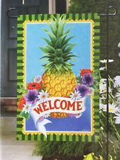 "Nib Pineapple Welcome Southern Hospitality Small Banner Flag 12.5""x18"" Tropical"