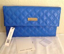 Authentic Marc Jacobs Large Eugenie Quilted Cobalt Blue Clutch Bag Handbag
