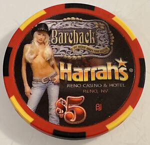 HARRAHS BAREBACK $5 Casino Chip Reno Nevada 3.99 Shipping