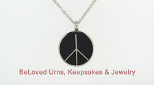 Round With Peace Sign Pendant Cremation Jewelry Keepsake Urn w/ Chain, Funnel