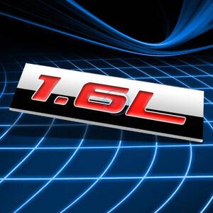 METAL 3D EMBLEM DECAL LOGO TRIM BADGE STICKER POLISHED CHROME RED 1.6L 1.6 L