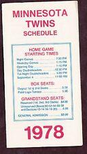 1978 MINNESOTA TWINS BASEBALL POCKET SCHEDULE
