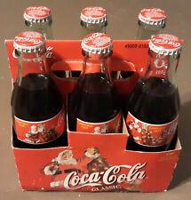 6-pack Coca Cola Full Bottles 1998 CHRISTMAS SANTA CLAUS COKE CLASSIC