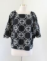 Ann Taylor Black White Floral Embroidered 3/4 Sleeve Peasant Top Blouse Size S