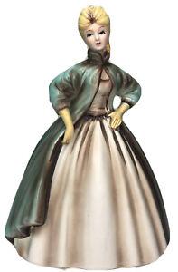 """Vintage Elegant Lady Figurine Teal Green Cloak Gown 8"""" Blonde Gift 1950 Lefton??"""
