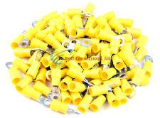 100 PK 12-10 Gauge #10 Ring Terminal Yellow Vinyl Crimp Connector Install Bay