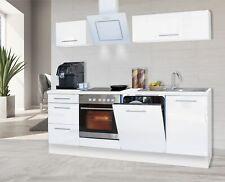 Küchenzeile Küche Einbauküche Küchenblock Komplett 220cm Weiß Hochglanz respekta