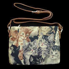 NEW SIGNARE Tapestry Cat Kitten Handbag Bag Purse X Long Strap