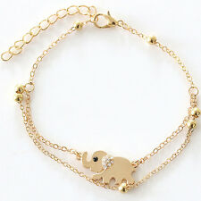 Cute Gold Alloy Elephant Chain Crystal Charm Adjustable Anklet Beach Party 1986