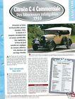 Citroën AC 4 Commerciale Torpedo 4 Cyl. 1933 France Car Auto Retro FICHE FRANCE