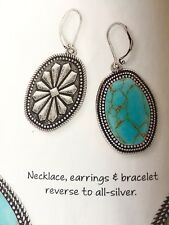Premier Designs jewelry matte silver tone BOHO CHIC turquoise earrings