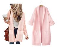 Pullover Damen Cardigan Oversize Strickjacke Pulli Tunika Locker Lang Rosa Weiß