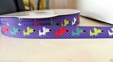 "1 yard 16mm(5/8"")wide  DACHSHUND WIENER SAUSAGE DOG PURPLE GROSGRAIN RIBBON"
