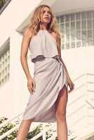Abbey Clancy x Lipsy Silver Satin Halter Midi Dress Size 16 BNWT RRP £60 Party