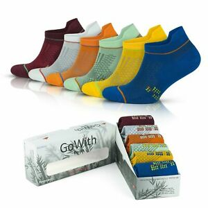 GoWith Men's Bamboo Colorful Short Seamless Running Socks | 6 Pairs | Model:3151