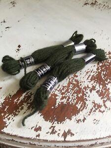 Tapestry 100% Wool Laine Colbert DMC France Lot Of 3 #7369 Green Shade VTG