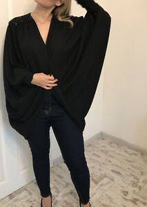 Condici Black Beaded Shoulder Batwing Top Evening Ruched Sleeves Size 16 Blazer