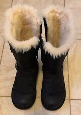 UGG Kensington Boots Black Leather Sheepskin Lined Buckled Biker Boots UK13 Eu31