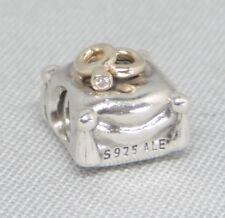 Authentic Pandora Romantic Union Diamond Charm/Bead 14K Gold Silver 925 790549D