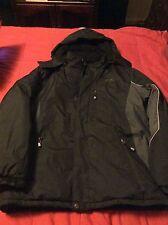 CB sports men's black/grey ski snowboard jacket coat zip out fleece liner Large