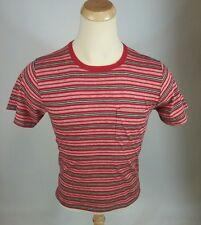 Nos Vintage 70s Surf Stripe Pocket T Shirt Deadstock indy Knit Red M 80s Blank
