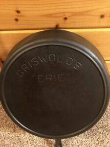 """GRISWOLD'S """"ERIE"""" No. 12 Cast Iron Skillet-Rare! Hard To Find!"""