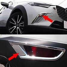 ABS Chrome Front + Rear Fog Light Lamp Cover Trim 6pcs For 2016 2017 Mazda CX-3