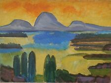 """Yellow Sky, Purple Mountains Modernist Oil Painting-18"""" x 24""""- I.L. Winarsky"""