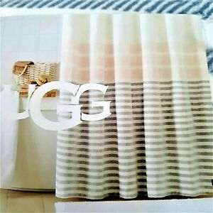 "UGG Shower Curtain 72"" Unique Plush Feel Pink Gray Cream Stripe New in Package"