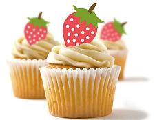✿ 24 Edible Rice Paper Cup Cake Toppings, Cake decs - Strawberries ✿