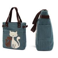Cat Pattern Women Canvas Handbag Shopping Tote Bag Beach Shoulder Casual Bag New