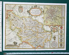 Old Antique Tudor map of West, South Yorkshire: John Speed 1600's Reprint