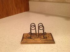 Rare Find! Antique Desk Receipt HOlder Wire Wood Coal Lumber Advertising FAB!!!!