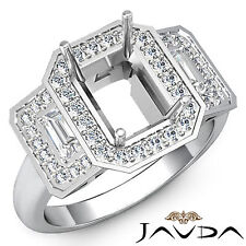 Diamond 3 Stone Engagement Ring Platinum 950 0.95Ct Vintage Emerald Semi Mount
