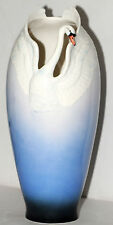 Franz Porcelain Swan Handcrafted Signed Vase FZ00074 Blue White Ombre Beautiful