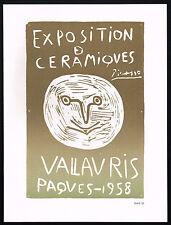 1960s Vintage Pablo Picasso Ceramiques Ceramics 58 Face Poster Art Print