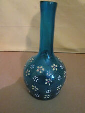 Vintage  Fenton Barber Shop Barber Bottle Blue Blown glass Hand Painted flowers