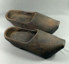 Vtg Carved Wooden Wood Shoes Dutch Clogs