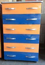 Settimino mobile cassettone in melaminico montato arancio e blu cm 75 grigio