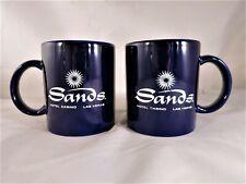 Vintage Pair Sands Hotel Casino Las Vegas Coffee Mugs Dark Blue / White printing
