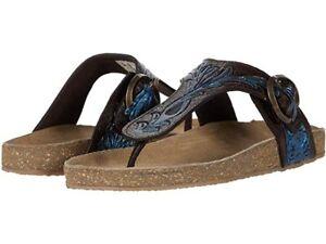 Roper Ladies Mira Slip On Sandal - Tooled Leather Upper Blue - Sizes 6 to 11
