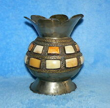 """METAL VASE STONE INLAY 6 3/4"""" USED HAND CRAFTED"""