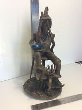 Vintage Rare Hippie On A Mushroom Art Deco Resin Weed Cool Statue