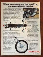 Vintage 1976 Original Print Ad HONDA XL 250/350 Redesigned MOTORCYCLE Dirt Bike