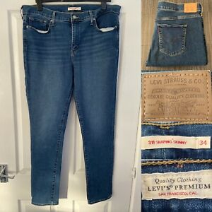 Ladies Levis 311 Shaping Skinny Jeans Waist 34 leg 32 Levi blue W34 L32