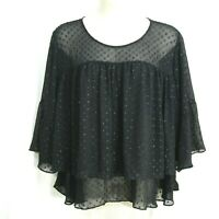 A New Day Blouse Size 3X Black Polka Dots Sheer Layered 3/4 Bell Sleeves