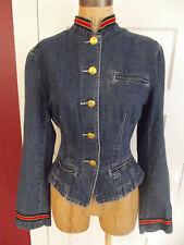 Vintage The Limited Denim Jacket Medium Wash Military Waist Jacket Fitted SZ M