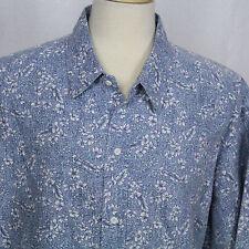 Hilo Hattie The Hawaiian Original Blue Floral Short Sleeve Casual Men Shirt EUC