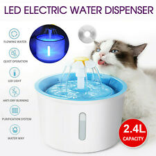 More details for 2.4l usb led automatic electric pet water fountain cat/dog drinking dispenser uk