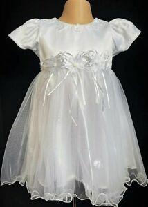 White Christening Flower Girl Wedding Easter Summer Bling  Eid Party Dress 0-24